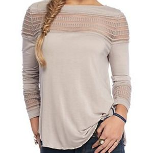 {Free People} Gray Mesh Inset Tee